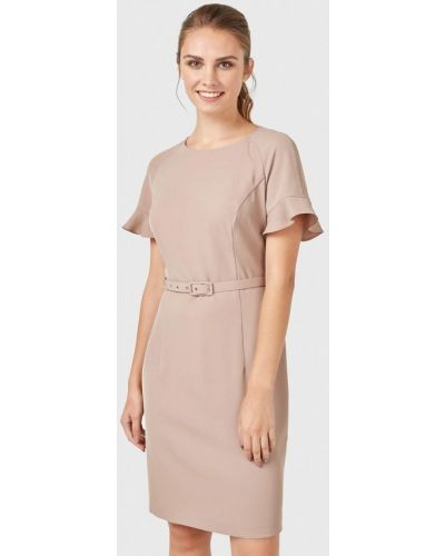 Прямое бежевое платье Pompa