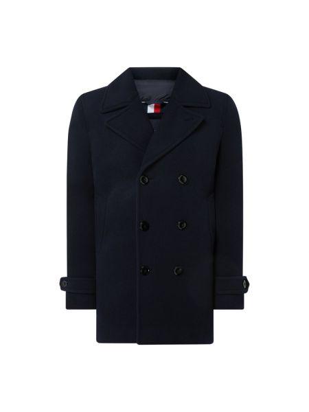Wełniany płaszcz z kołnierzem z kieszeniami na przyciskach Tommy Hilfiger