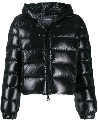 Прямая черная куртка с капюшоном Duvetica