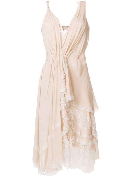 Шелковое асимметричное платье с оборками Ermanno Scervino