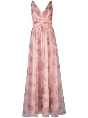Платье с V-образным вырезом - розовое Marchesa Notte