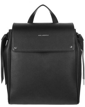 Кожаный рюкзак черный с откидным клапаном Karl Lagerfeld