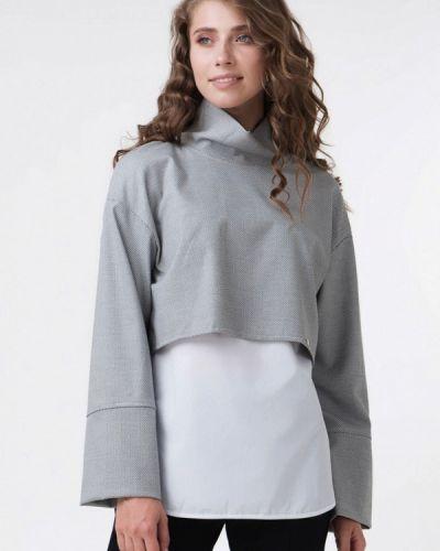 Серая блузка с длинным рукавом Ricamare