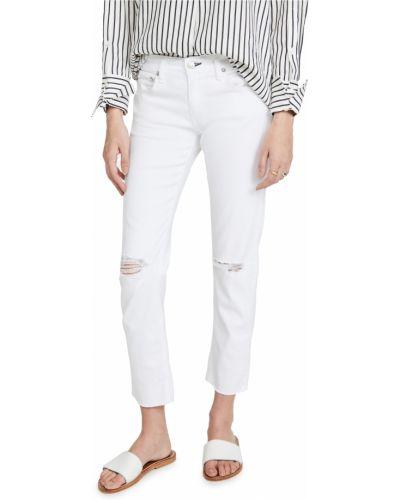 Białe jeansy rurki bawełniane Rag & Bone