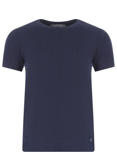 Хлопковая футбольная синяя футболка с круглым вырезом Capobianco