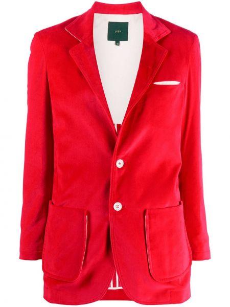 Однобортный красный удлиненный пиджак с карманами Jejia