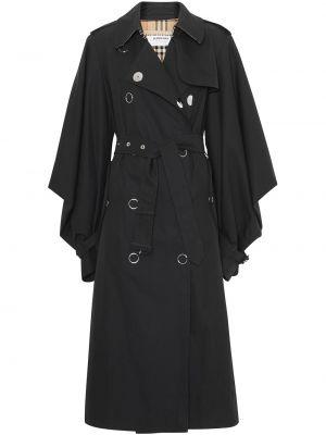Приталенное черное длинное пальто двубортное Burberry