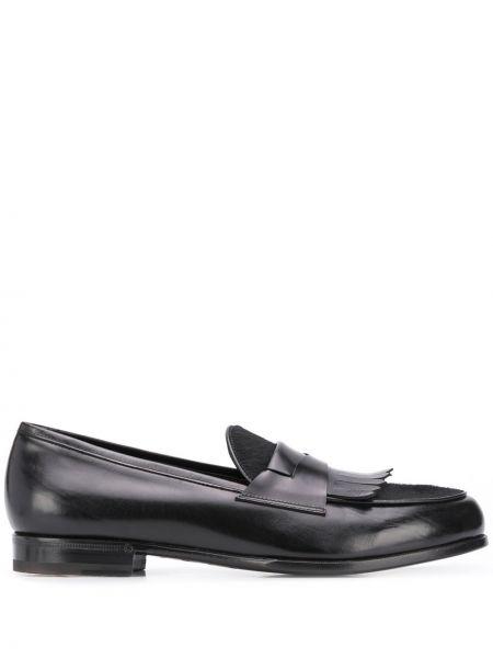 Кожаные черные лоферы на каблуке круглые Lidfort