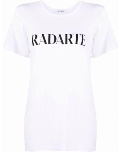 Biały t-shirt bawełniany krótki rękaw Rodarte