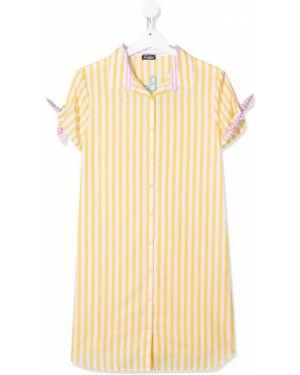С рукавами желтое платье мини с воротником Mc2 Saint Barth