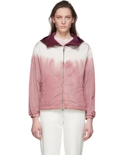Белая длинная куртка с капюшоном с вышивкой Moncler
