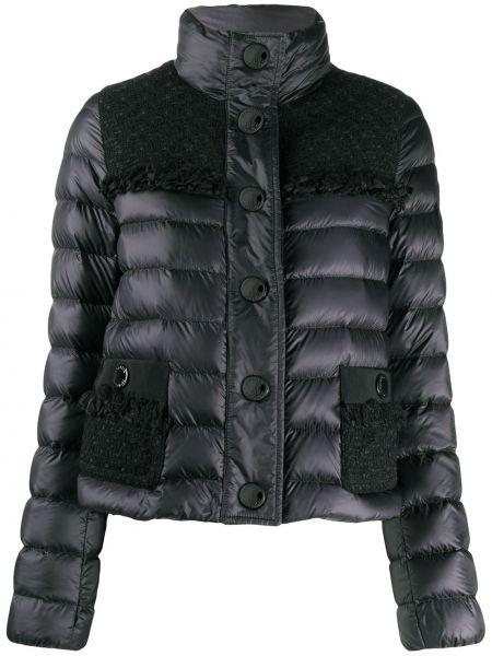 Стеганая куртка черная на пуговицах Moncler
