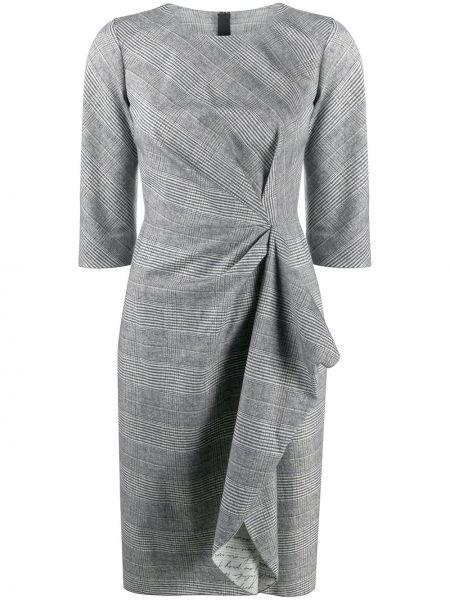 Серое платье миди с вырезом на молнии круглое Paule Ka