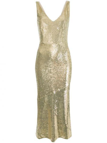 Złota sukienka midi z haftem z dekoltem w serek Rachel Zoe