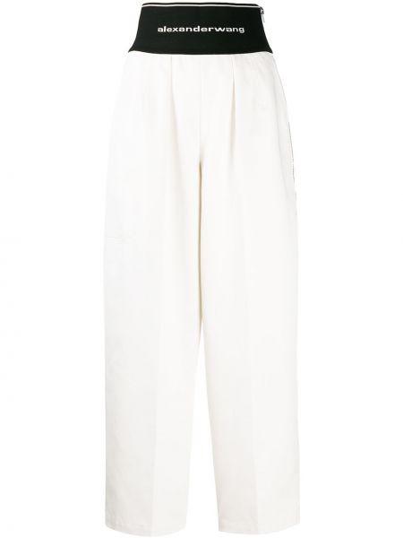 Bawełna biały bawełna przycięte spodnie wysoki wzrost Alexander Wang