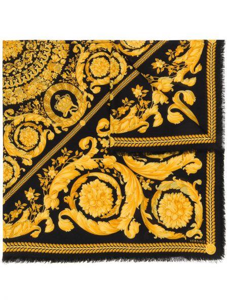 Черный шелковый шарф с опушкой Versace