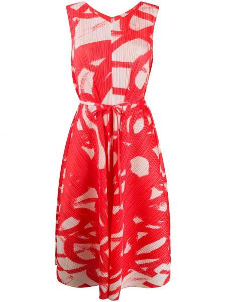 Платье миди плиссированное с V-образным вырезом Pleats Please Issey Miyake