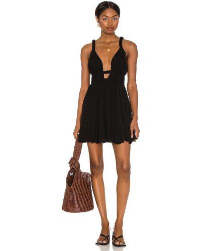 Черное платье с подкладкой на бретелях Majorelle