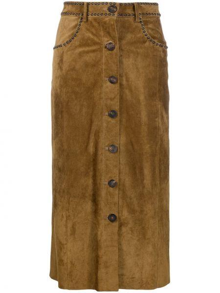 Кожаная юбка миди - желтая Golden Goose