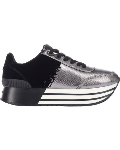 Кроссовки на платформе серебряного цвета Calvin Klein Jeans