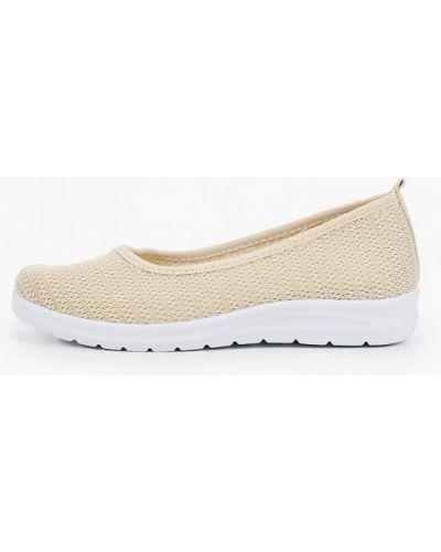 Текстильные бежевые балетки Ideal Shoes®