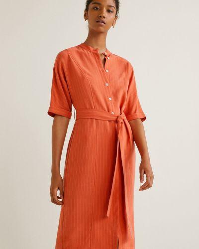 Платье миди с поясом прямое Mango