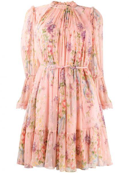Розовое платье с оборками металлическое Needle & Thread