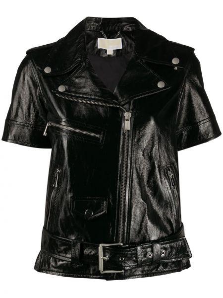 Кожаная куртка черная укороченная Michael Michael Kors