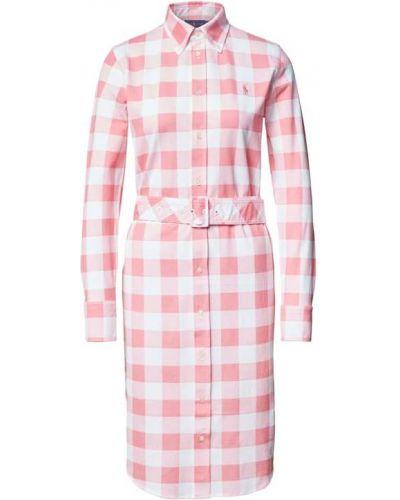 Różowa sukienka koszulowa z długimi rękawami bawełniana Polo Ralph Lauren