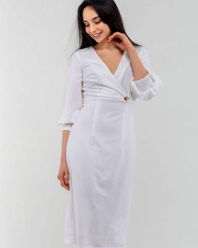 Трикотажное белое платье с запахом Modniy Oazis
