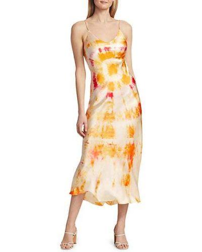 Pomarańczowa sukienka midi z jedwabiu bez rękawów Dannijo