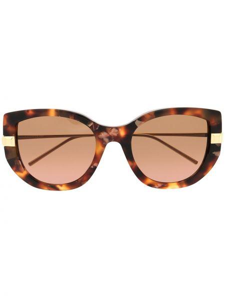 Золотистые коричневые солнцезащитные очки металлические Boucheron Eyewear
