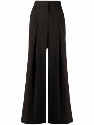 Хлопковые черные брюки с карманами с завышенной талией Antonelli