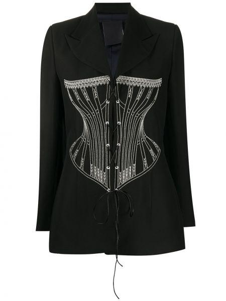 Шерстяной черный пиджак с вышивкой Seen Users