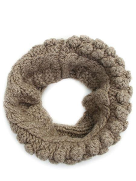 Бежевый кашемировый шарф вязаный Malo
