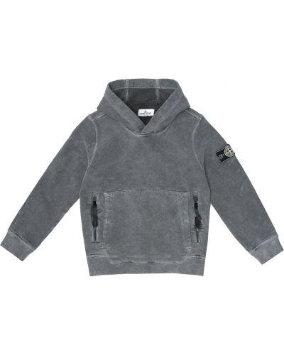 Szary bawełna bawełna bluza z kapturem Stone Island Junior