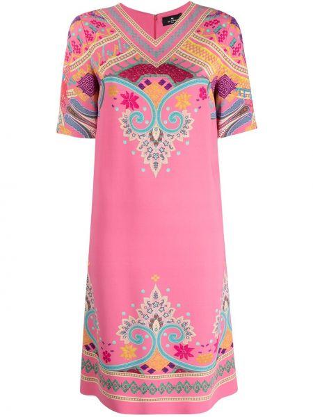 Розовое платье мини трапеция с вырезом Etro