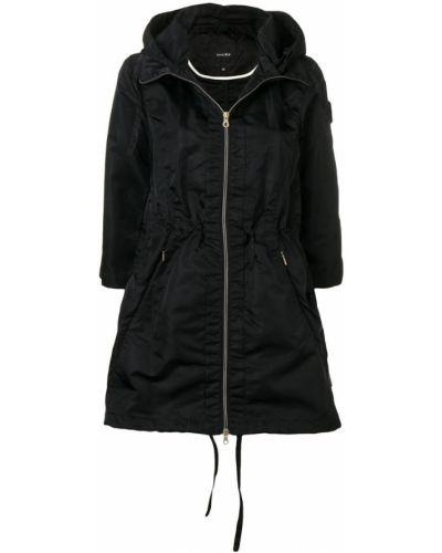 Черное пальто с капюшоном Duvetica