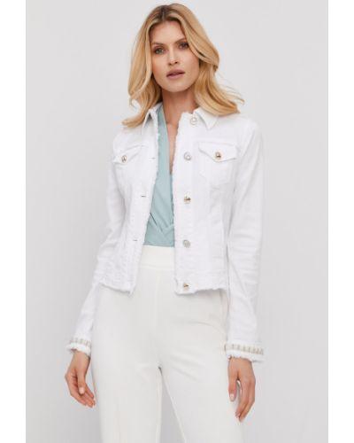 Biała kurtka jeansowa z kapturem bawełniana Liu Jo