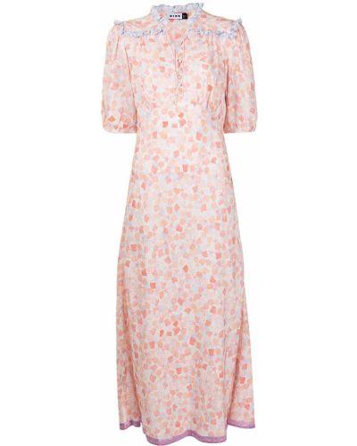 Różowa sukienka midi z wiskozy krótki rękaw Rixo