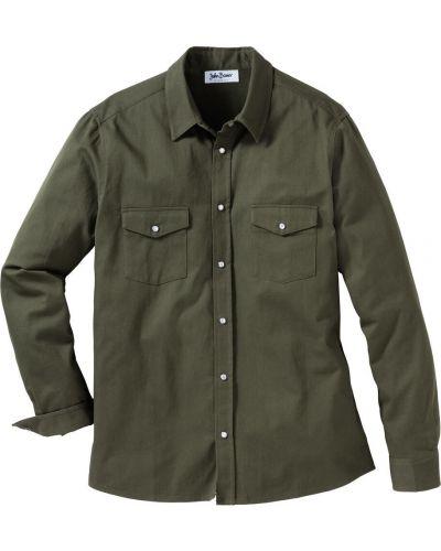 Джинсовая рубашка с карманами на кнопках Bonprix