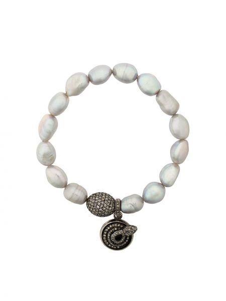 Золотистый белый браслет с жемчугом Loree Rodkin