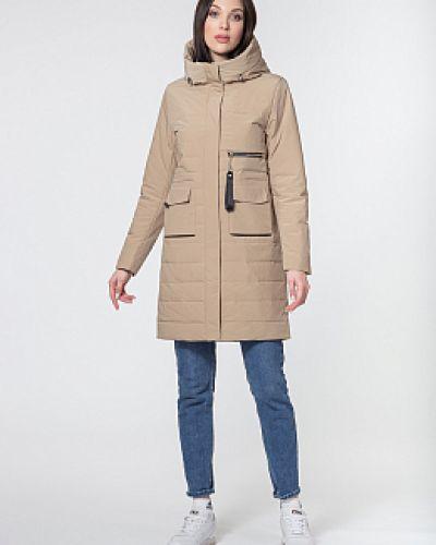 Прямое бежевое пальто с капюшоном каляев