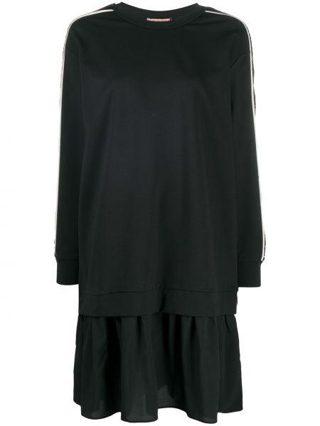 Черное длинное платье-свитер платье с вышивкой Twin-set