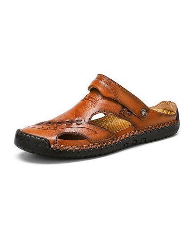 Черные кожаные сандалии оверсайз Newchic