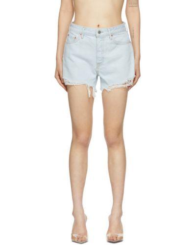 Кожаные бежевые джинсовые шорты с карманами с заплатками Grlfrnd