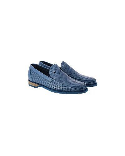 Синие кожаные мокасины Zilli