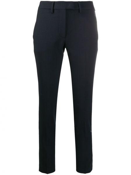 Шерстяные синие брюки с потайной застежкой Incotex
