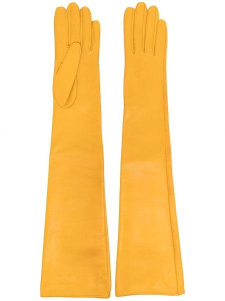 Желтые кожаные перчатки длинные Manokhi