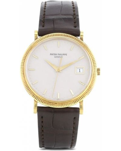 Кожаные часы на кожаном ремешке золотые круглые Patek Philippe